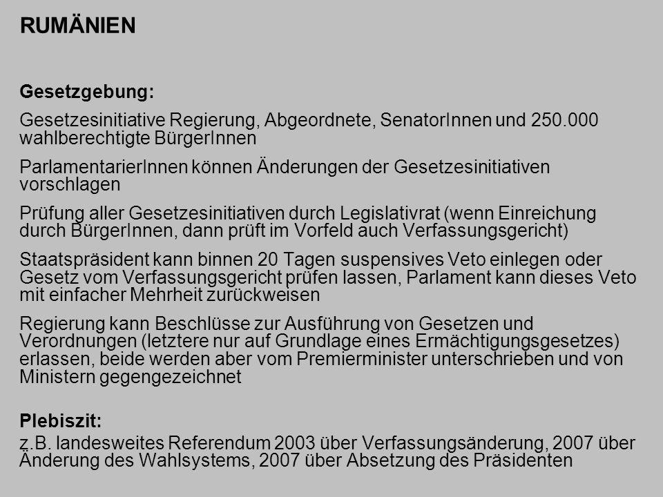 RUMÄNIEN Gesetzgebung: