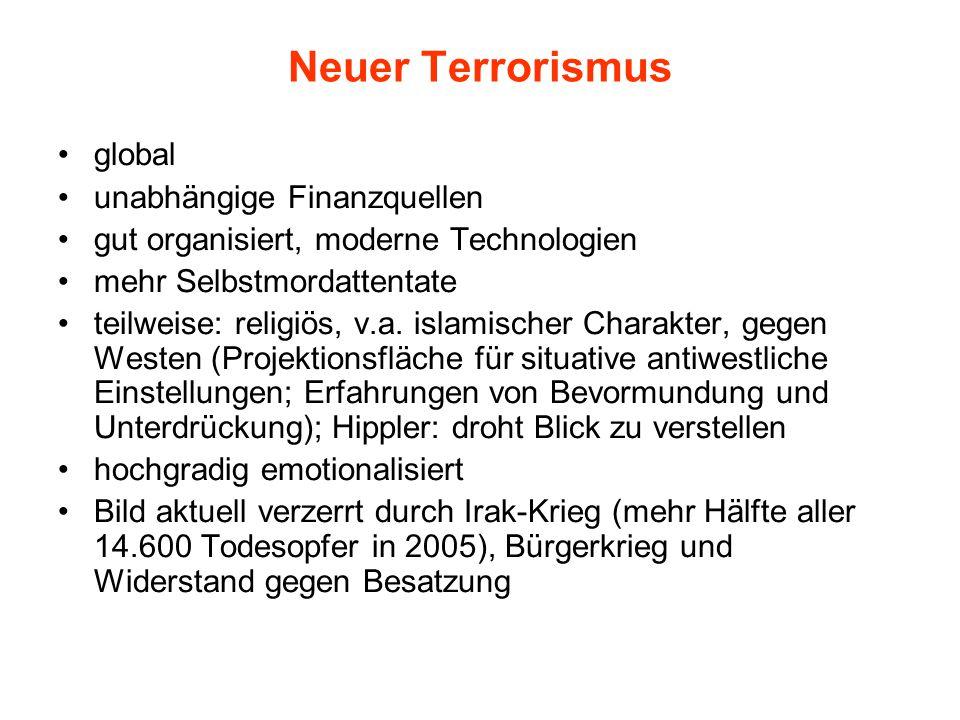 Neuer Terrorismus global unabhängige Finanzquellen