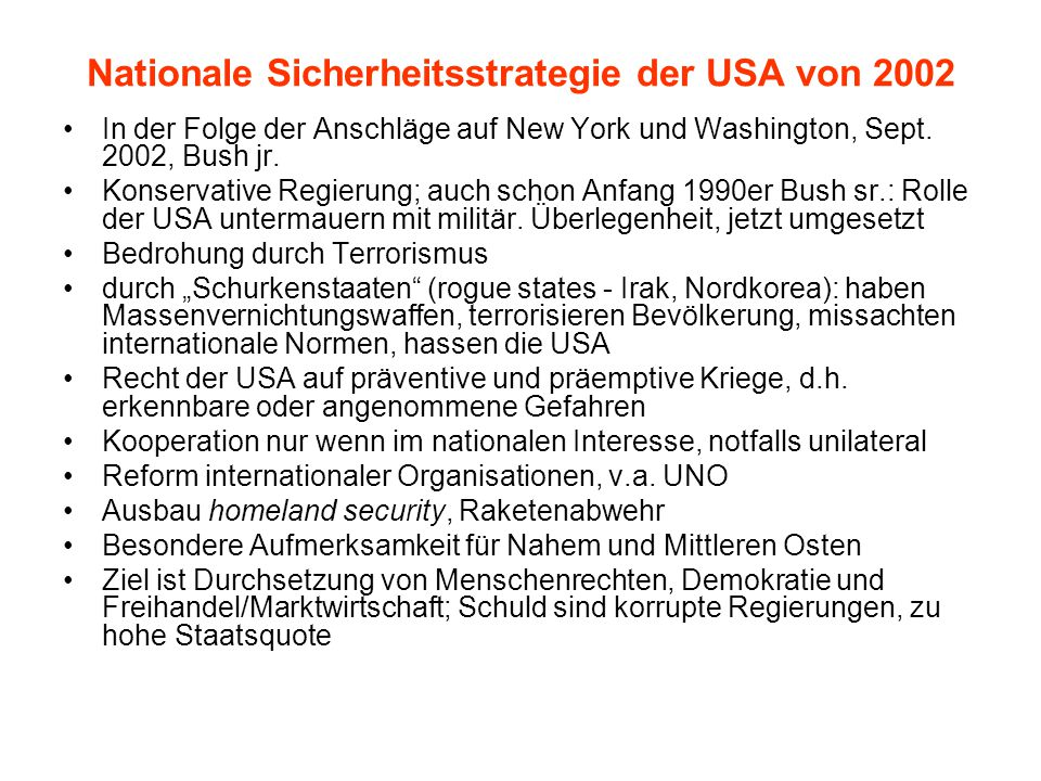Nationale Sicherheitsstrategie der USA von 2002