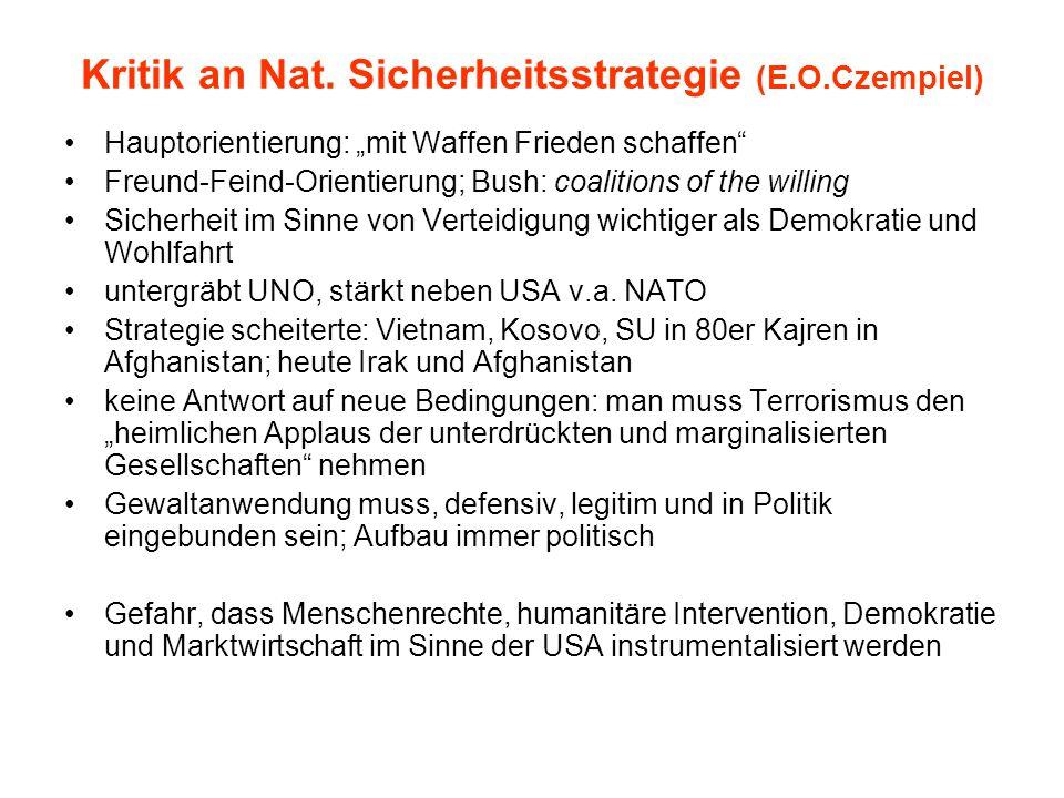 Kritik an Nat. Sicherheitsstrategie (E.O.Czempiel)