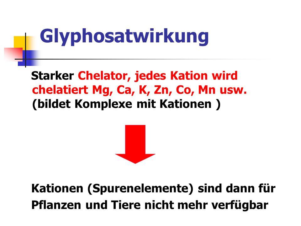 Glyphosatwirkung Starker Chelator, jedes Kation wird chelatiert Mg, Ca, K, Zn, Co, Mn usw. (bildet Komplexe mit Kationen )
