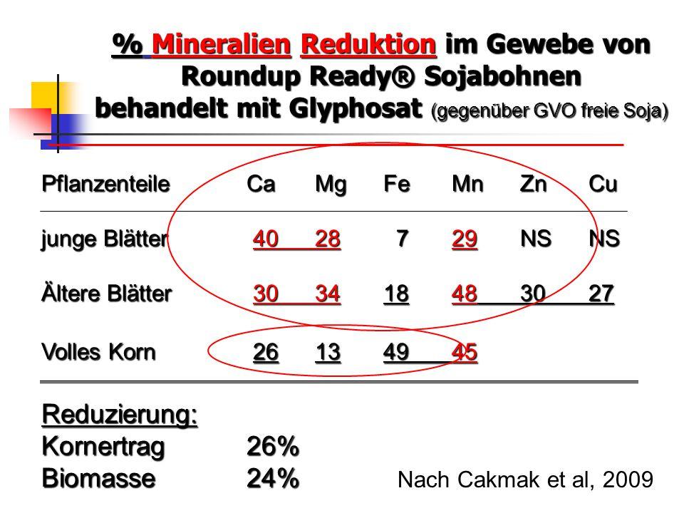 % Mineralien Reduktion im Gewebe von Roundup Ready® Sojabohnen behandelt mit Glyphosat (gegenüber GVO freie Soja)