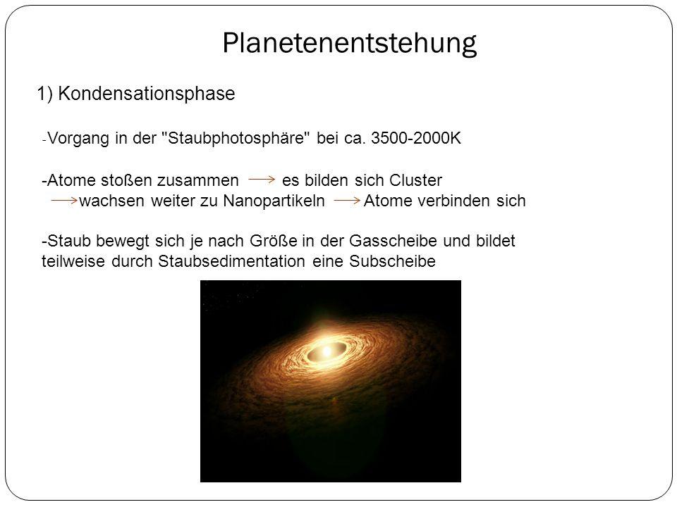 Planetenentstehung 1) Kondensationsphase