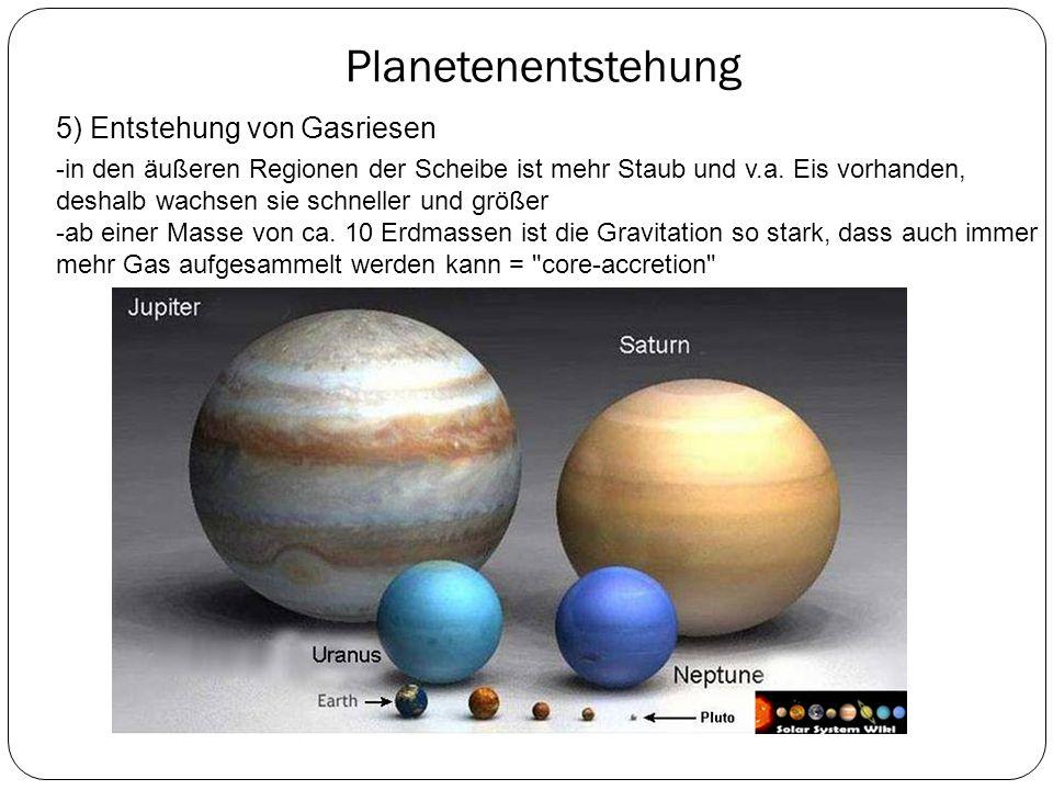 Planetenentstehung 5) Entstehung von Gasriesen
