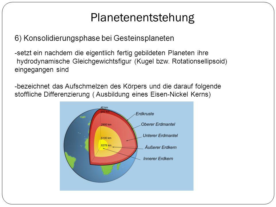 Planetenentstehung 6) Konsolidierungsphase bei Gesteinsplaneten