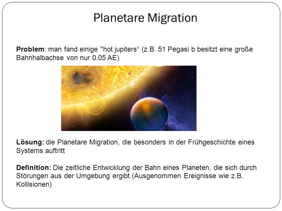Planetare Migration Problem: man fand einige hot jupiters (z.B. 51 Pegasi b besitzt eine große Bahnhalbachse von nur 0.05 AE)