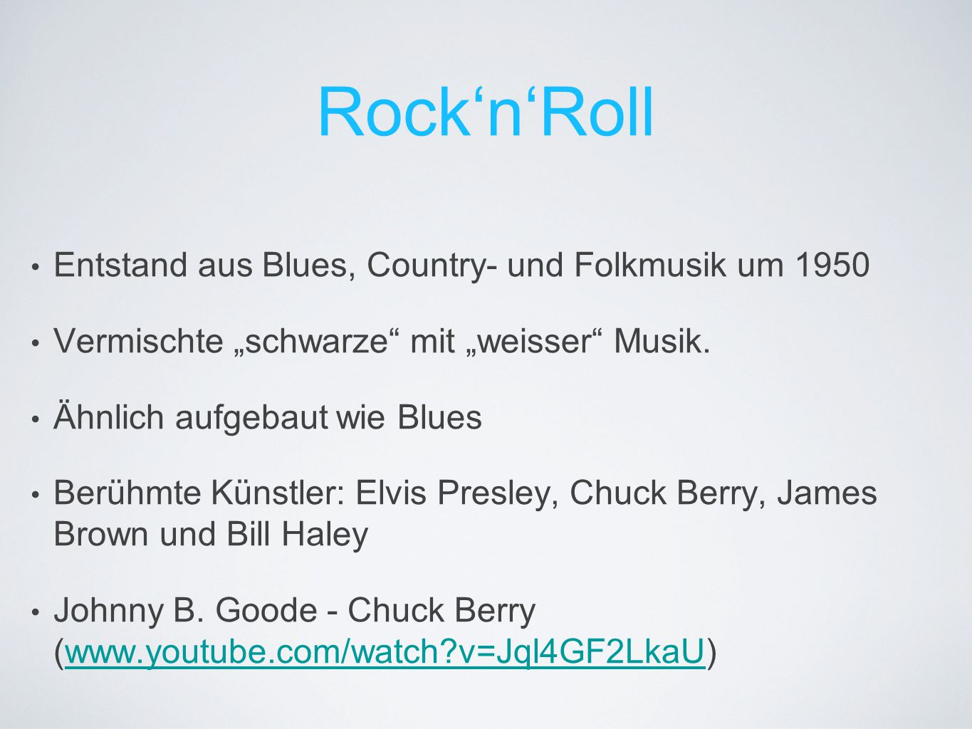 Rock'n'Roll Entstand aus Blues, Country- und Folkmusik um 1950