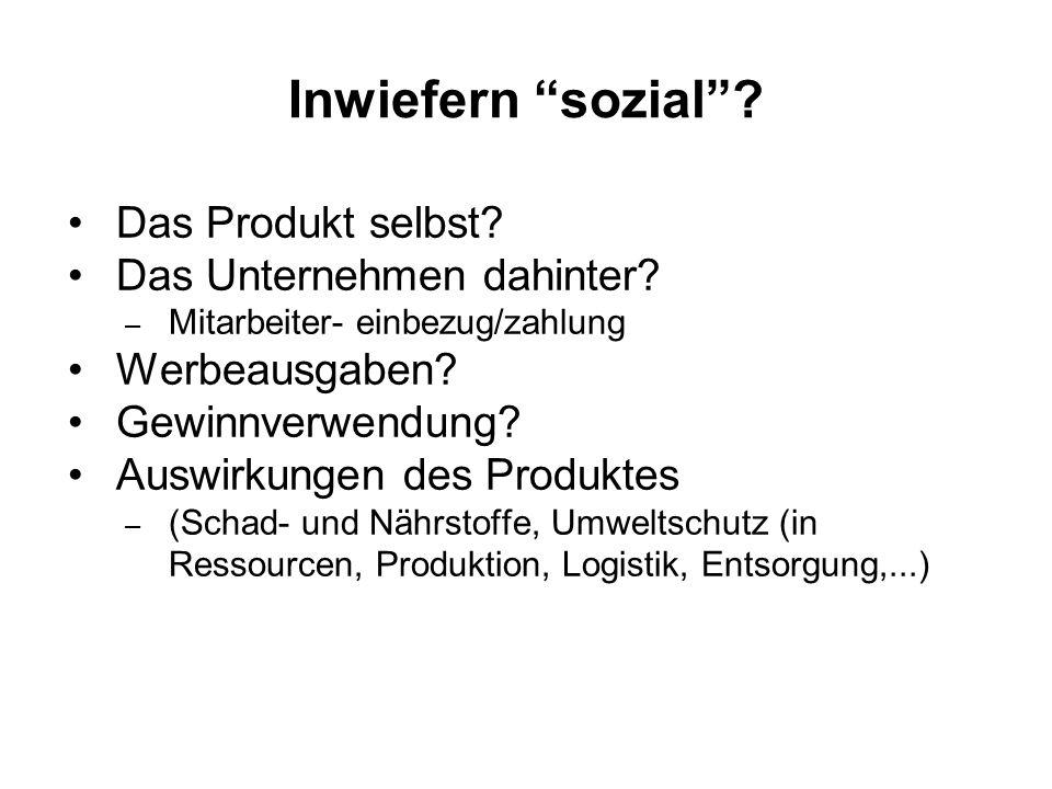 Inwiefern sozial Das Produkt selbst Das Unternehmen dahinter