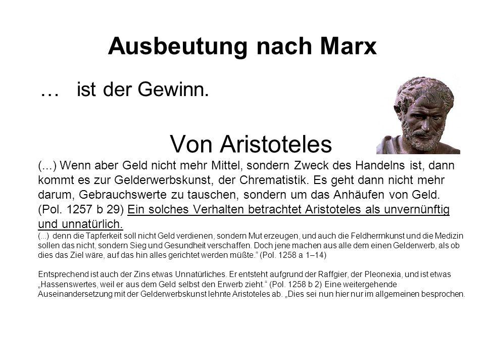 Ausbeutung nach Marx Von Aristoteles … ist der Gewinn.