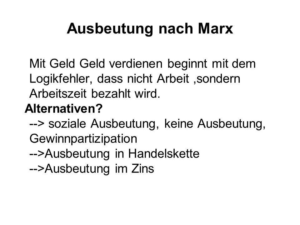 Ausbeutung nach Marx Mit Geld Geld verdienen beginnt mit dem Logikfehler, dass nicht Arbeit ,sondern Arbeitszeit bezahlt wird.