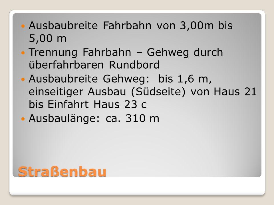 Straßenbau Ausbaubreite Fahrbahn von 3,00m bis 5,00 m