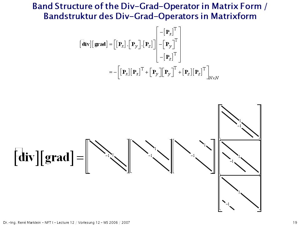Band Structure of the Div-Grad-Operator in Matrix Form / Bandstruktur des Div-Grad-Operators in Matrixform