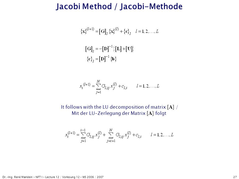 Jacobi Method / Jacobi-Methode