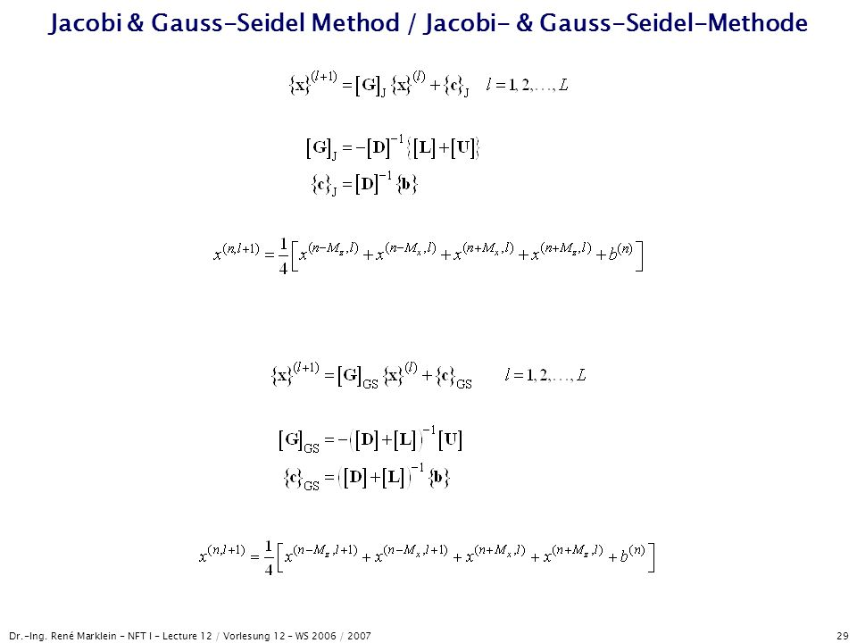 Jacobi & Gauss-Seidel Method / Jacobi- & Gauss-Seidel-Methode