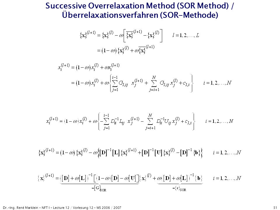 Successive Overrelaxation Method (SOR Method) / Überrelaxationsverfahren (SOR-Methode)