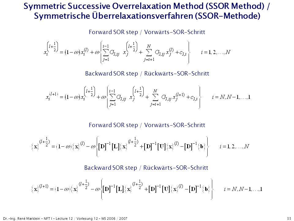 Symmetric Successive Overrelaxation Method (SSOR Method) / Symmetrische Überrelaxationsverfahren (SSOR-Methode)