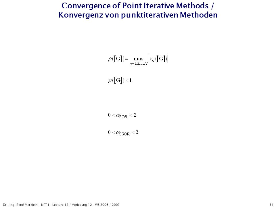 Convergence of Point Iterative Methods / Konvergenz von punktiterativen Methoden
