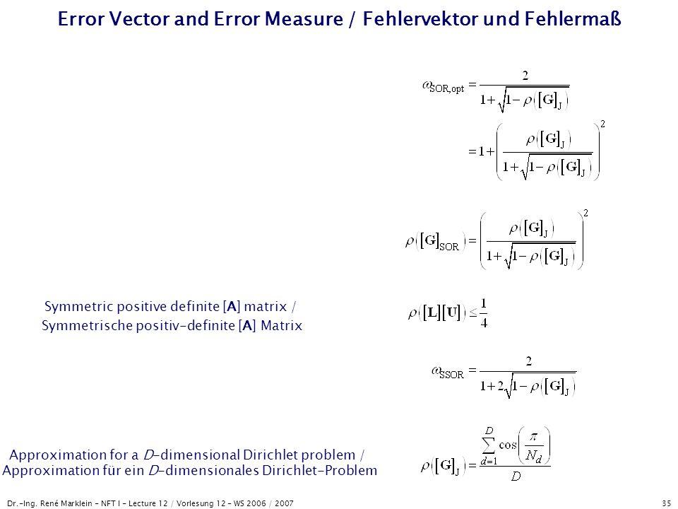Error Vector and Error Measure / Fehlervektor und Fehlermaß