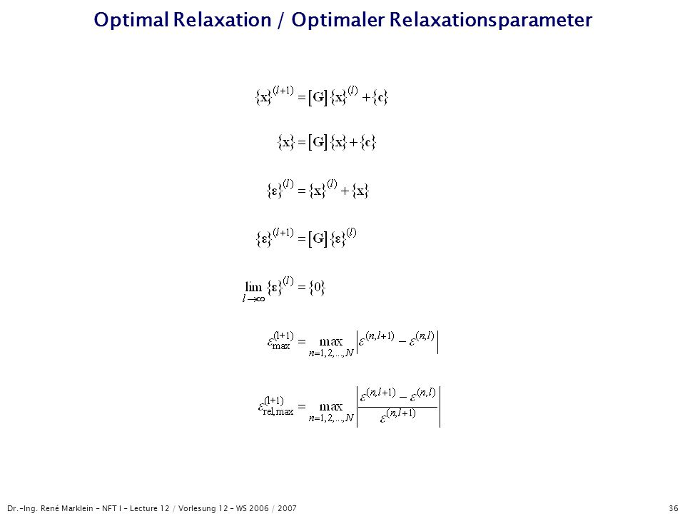 Optimal Relaxation / Optimaler Relaxationsparameter