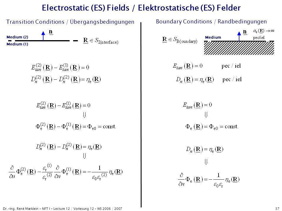 Electrostatic (ES) Fields / Elektrostatische (ES) Felder