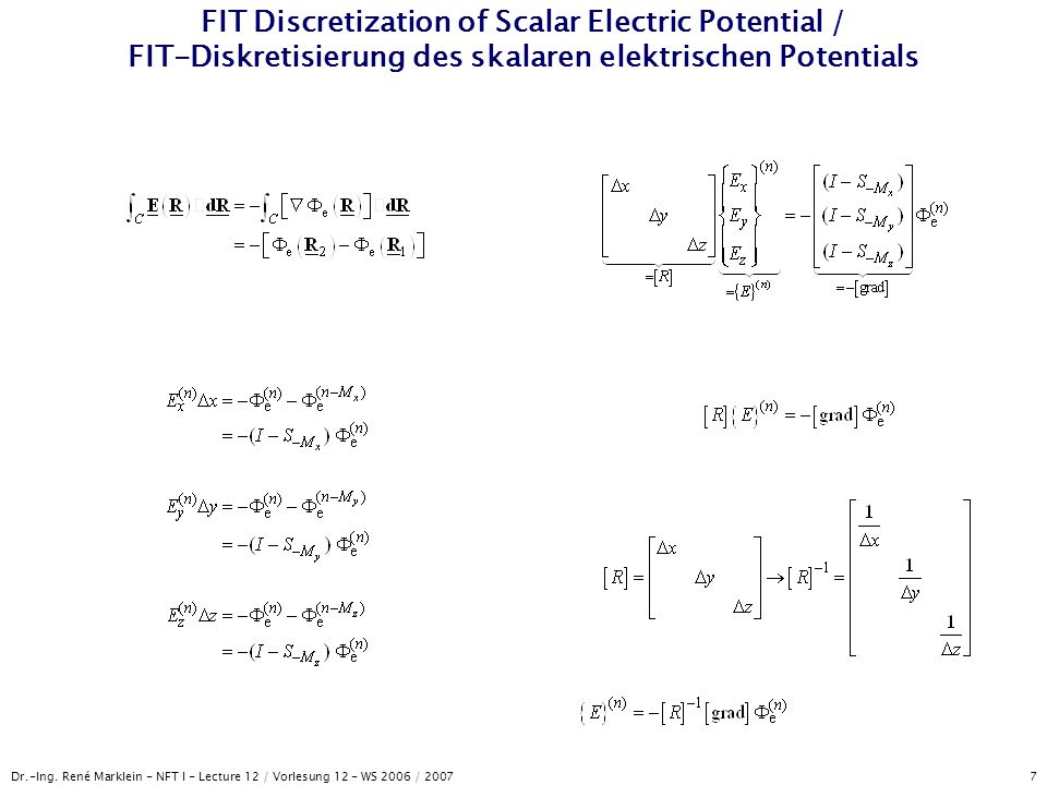 FIT Discretization of Scalar Electric Potential / FIT-Diskretisierung des skalaren elektrischen Potentials