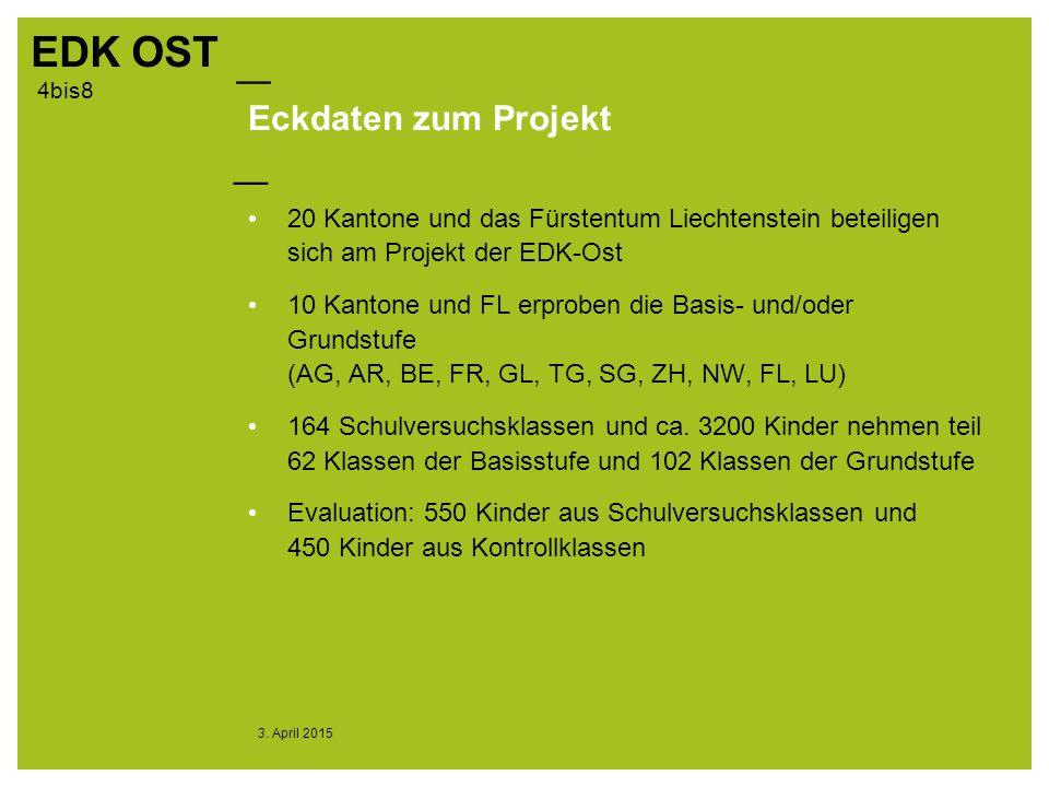 Eckdaten zum Projekt 20 Kantone und das Fürstentum Liechtenstein beteiligen sich am Projekt der EDK-Ost.