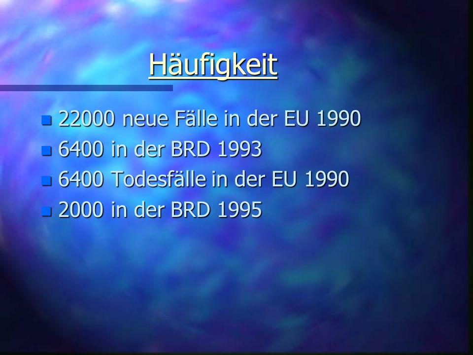 Häufigkeit 22000 neue Fälle in der EU 1990 6400 in der BRD 1993