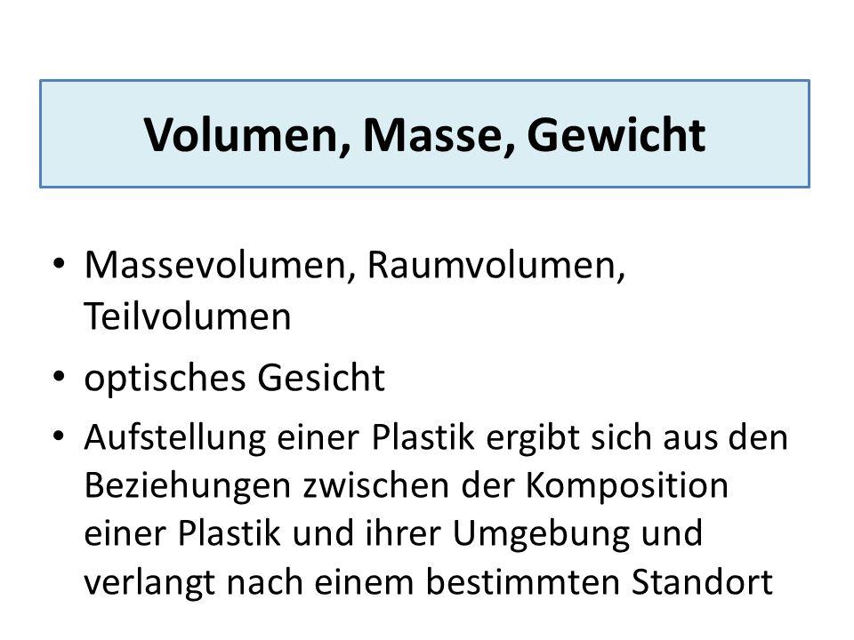 Volumen, Masse, Gewicht Massevolumen, Raumvolumen, Teilvolumen