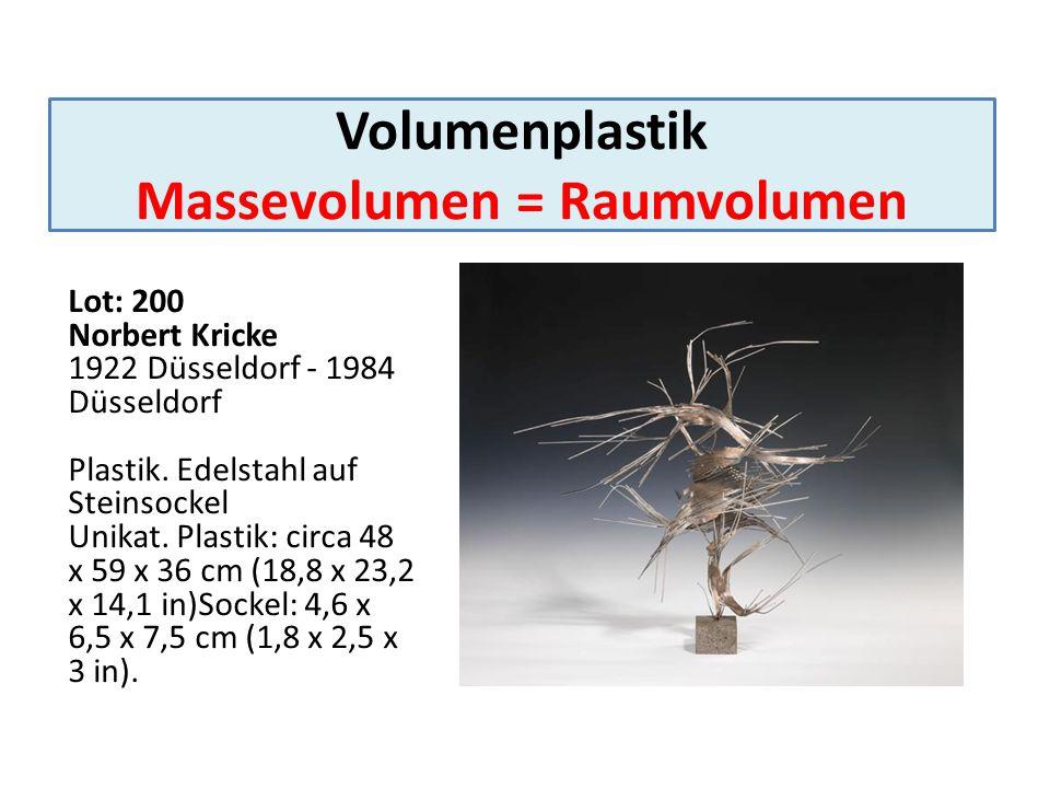 Volumenplastik Massevolumen = Raumvolumen