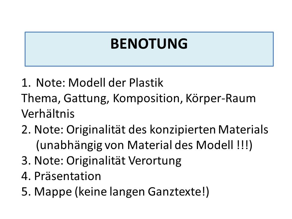 Benotung Note: Modell der Plastik