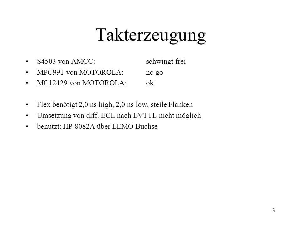 Takterzeugung S4503 von AMCC: schwingt frei MPC991 von MOTOROLA: no go