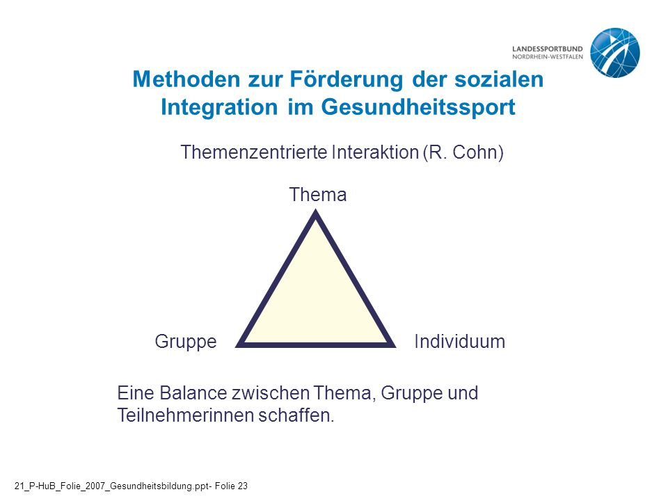 Methoden zur Förderung der sozialen Integration im Gesundheitssport
