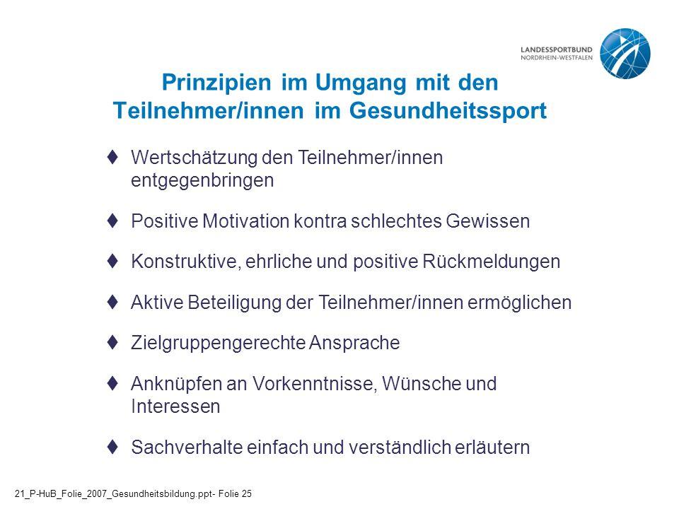 Prinzipien im Umgang mit den Teilnehmer/innen im Gesundheitssport