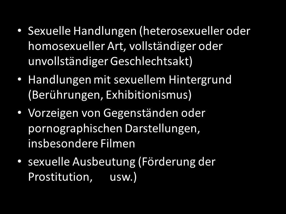 Sexuelle Handlungen (heterosexueller oder homosexueller Art, vollständiger oder unvollständiger Geschlechtsakt)