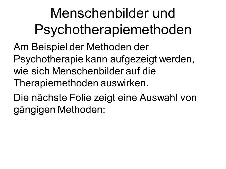 Menschenbilder und Psychotherapiemethoden