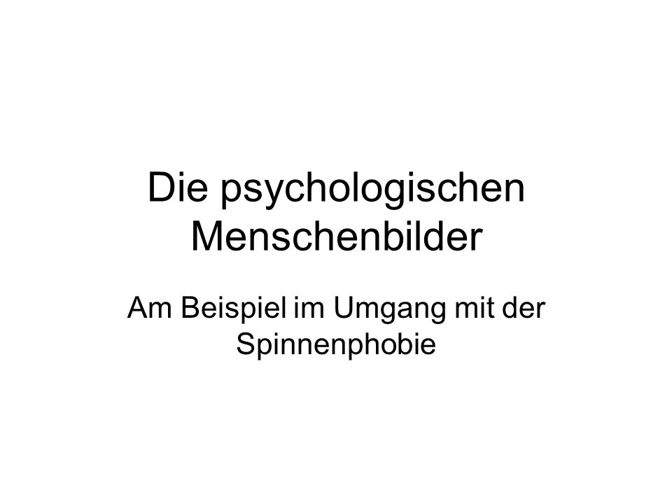Die psychologischen Menschenbilder