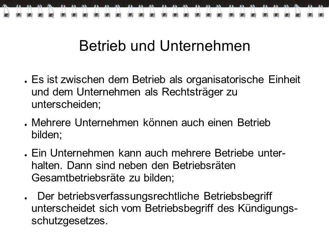 Betrieb und Unternehmen