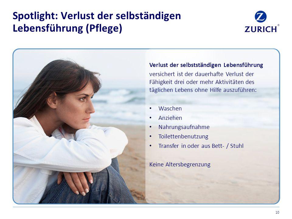 Spotlight: Verlust der selbständigen Lebensführung (Pflege)