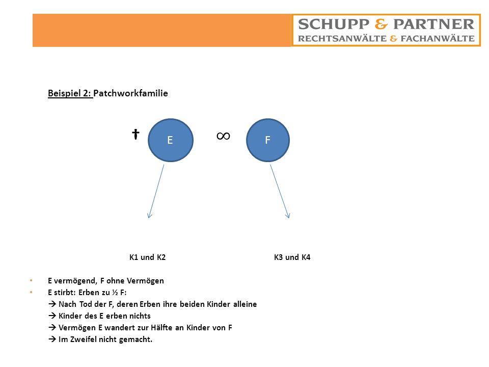 E F 12 Beispiel 2: Patchworkfamilie † ∞ K1 und K2 K3 und K4