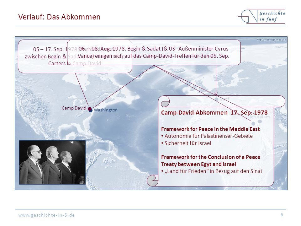 Verlauf: Das Abkommen Camp-David-Abkommen 17. Sep. 1978