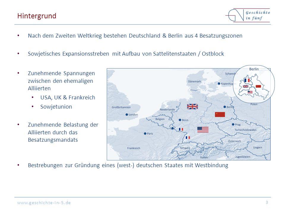Hintergrund Nach dem Zweiten Weltkrieg bestehen Deutschland & Berlin aus 4 Besatzungszonen.