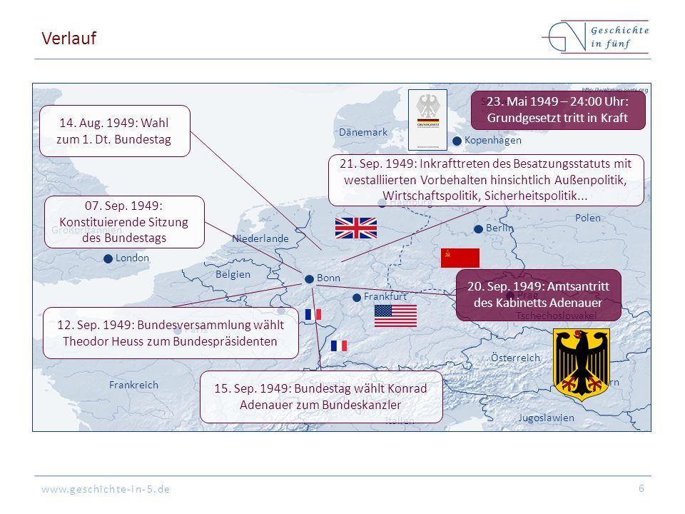 Verlauf 23. Mai 1949 – 24:00 Uhr: Grundgesetzt tritt in Kraft