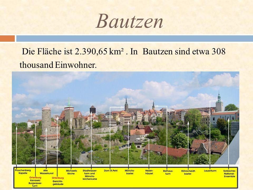 Bautzen Die Fläche ist 2.390,65 km² . In Bautzen sind etwa 308 thousand Einwohner.