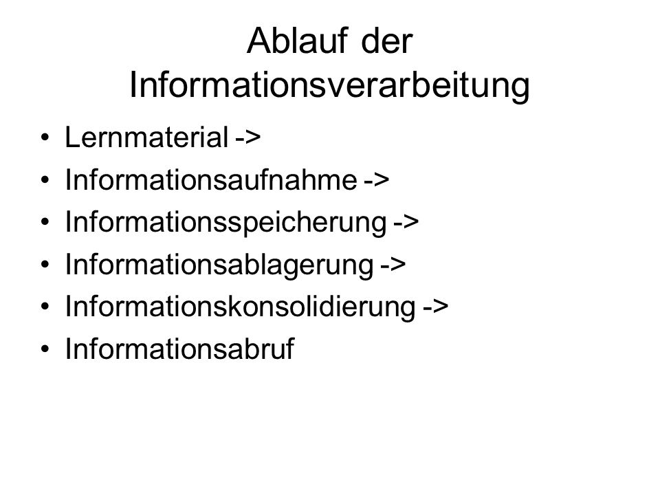Ablauf der Informationsverarbeitung