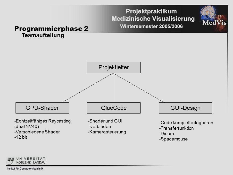 Programmierphase 2 Teamaufteilung Projektleiter GPU-Shader GlueCode