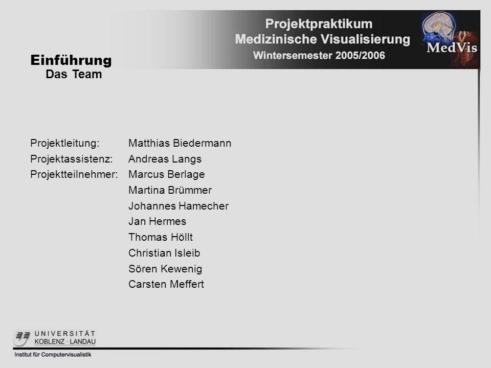 Einführung Das Team Projektleitung: Matthias Biedermann