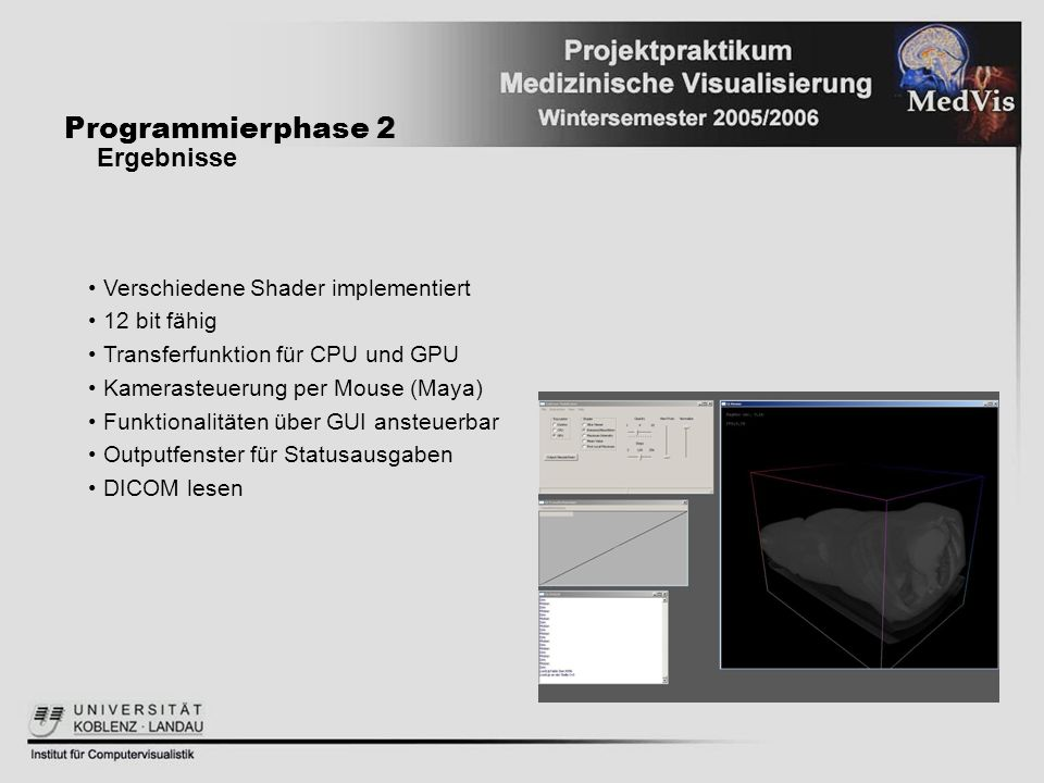 Programmierphase 2 Ergebnisse Verschiedene Shader implementiert