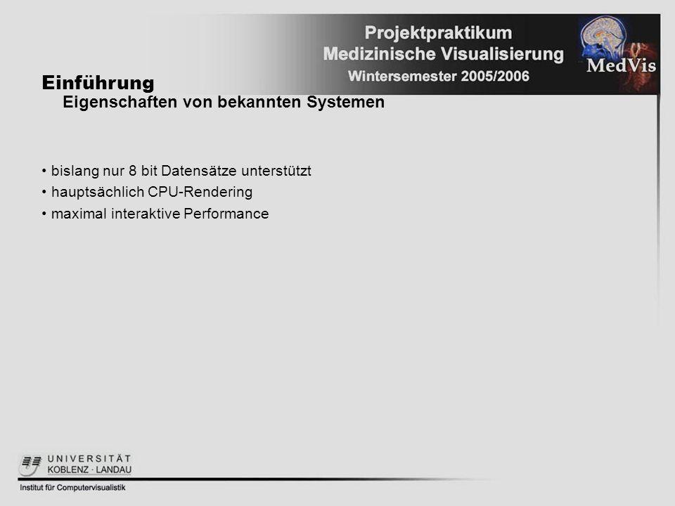 Einführung Eigenschaften von bekannten Systemen