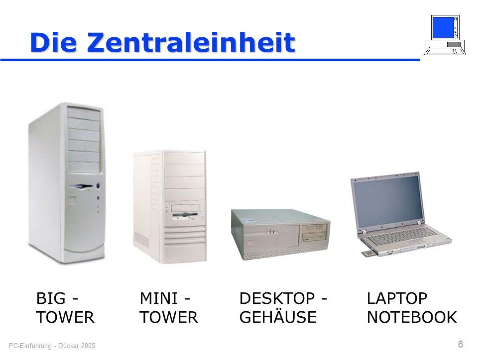 Die Zentraleinheit BIG - TOWER MINI - TOWER DESKTOP - GEHÄUSE LAPTOP