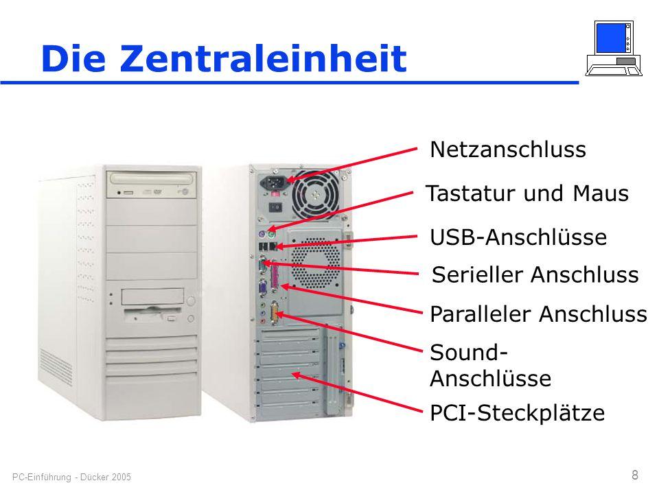 Die Zentraleinheit Netzanschluss Tastatur und Maus USB-Anschlüsse